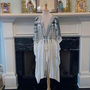 Tie dye Kimono with lace trim
